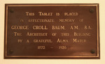 George C. Baum Plaque in Plank Gym