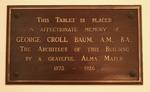 George C. Baum Plaque in Plank Gym